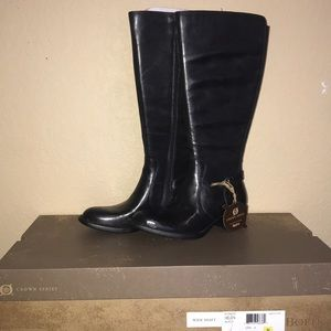 Born Black Helen Wide Shaft Boots NIB